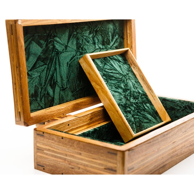 Scandinavian Lawrence & Scott Reclaimed Wood One-Of-A-Kind Lined Jewelry Box For Sale - Image 10 of 12