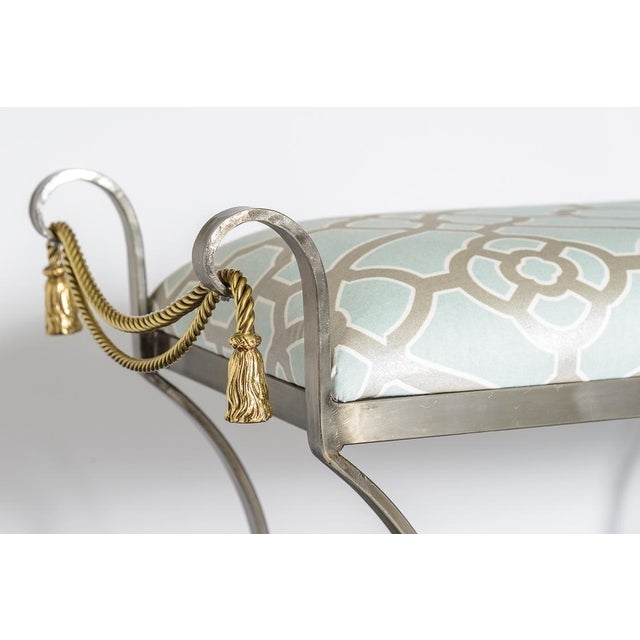 Neoclassical Style Rope & Tassel Steel Ottoman For Sale - Image 4 of 11