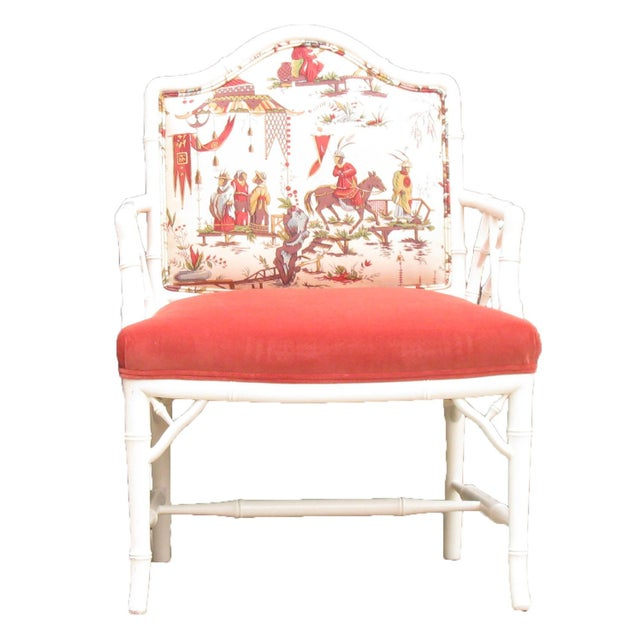 Asian Faux Bamboo Chinoiserie Chairs in Coral & White, Pair For Sale - Image 3 of 8