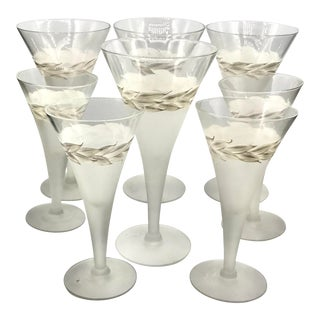 1940s Dorothy Thorpe Signed Hand Painted Crystal Wine Stemware - Set of 8 For Sale