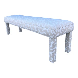 1980s Vintage Bench Reupholstered in Abstract Patterned Linen For Sale