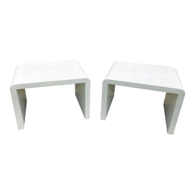 20th Century Modern Made Goods Faux Shagreen Waterfall Side Tables - a Pair For Sale