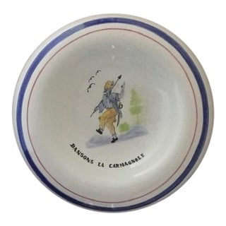 Vintage French Jeff De Bruges Hand Painted Porcelain Catch All For Sale