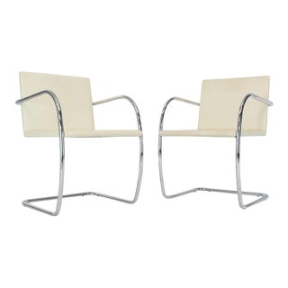 1980s Vintage Brno Knoll Thin Pad Tubular Cream Leather Chairs- a Pair For Sale
