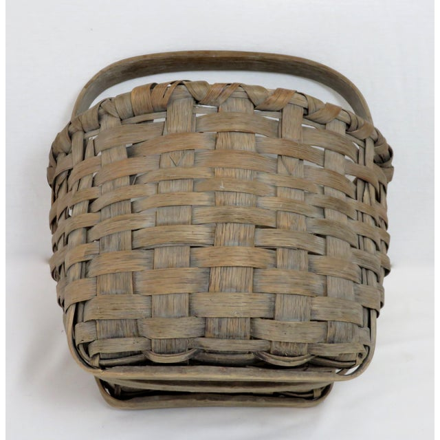 Gray 1900s Country Style Gray Basket For Sale - Image 8 of 13