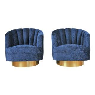 Milo Baughman Style Swivel Chair For Sale
