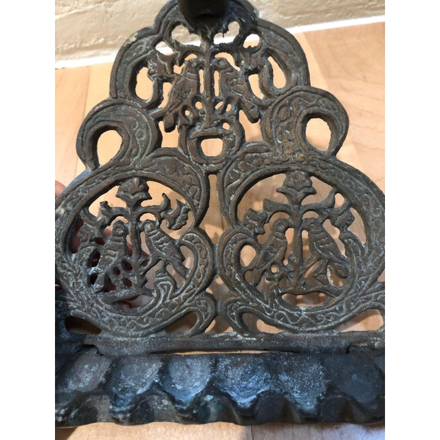 Late 20th Century Antique Brass Oil Burning Menorah For Sale - Image 5 of 7