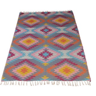 "Flat Weave Diamond Turkish Wool Kilim Rug - 5'3"" x 7'6"""