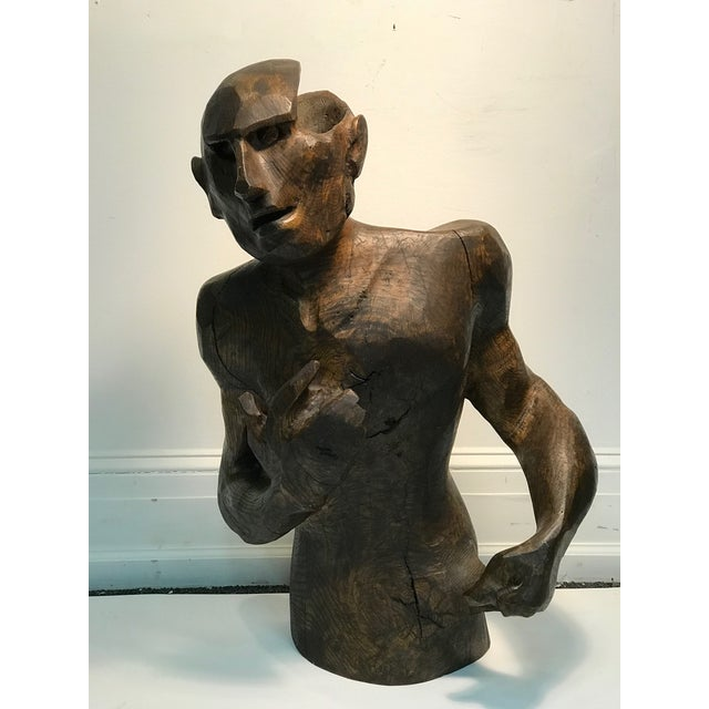 Brown Dramatic Sycamore Wood Sculpture of a Man's Figure For Sale - Image 8 of 8