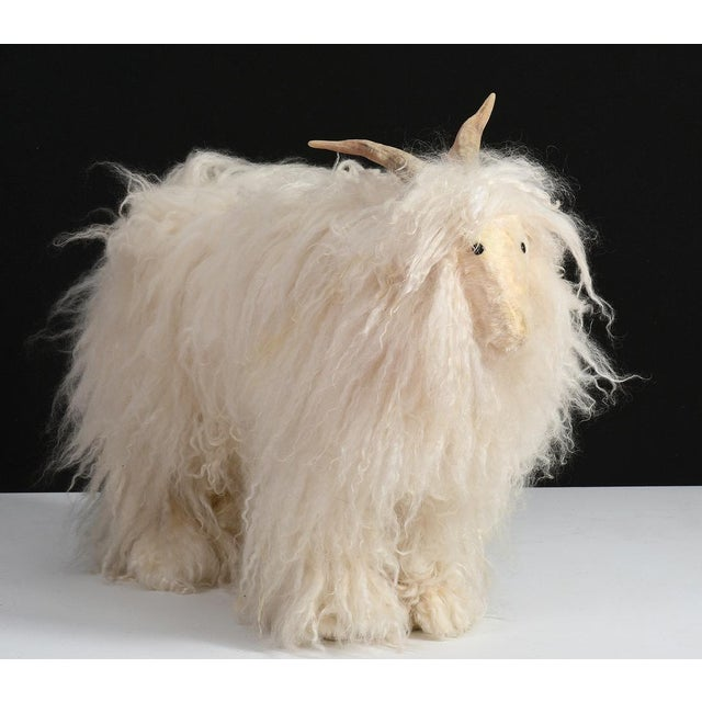 Danish Modern Vintage Sheep or Mountain Goat With Natural Horns, Made by Hand Circa 1960s For Sale - Image 3 of 10