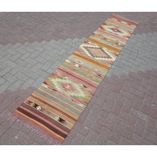 "Anatolian Kilim Runner Pastel Colored Hallway -2'1'x10"" Preview"