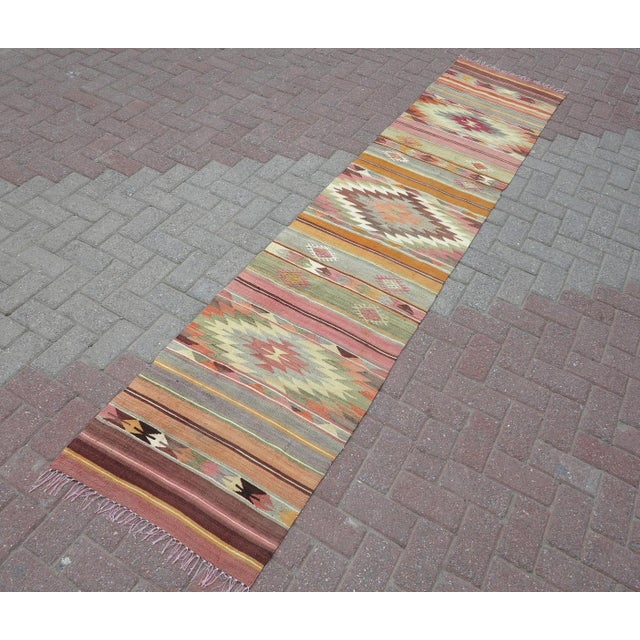 Modern Turkish Hallway Corridor Kilim. Pastel Colored Long Rug. Handwoven Slim Runner From Antalya Nomads. Very Fine...
