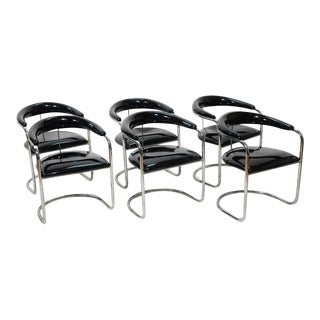 Black Patent Leather and Chrome Thonet Dining Chairs - Set of 6 For Sale