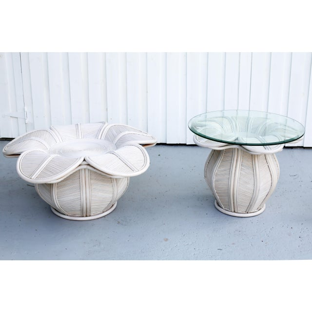 1970s 1970s Mid Century Modern Gabriella Crespi / Franco Albini Style Rattan Bell Flower Coffee Table For Sale - Image 5 of 11