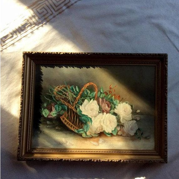 Art Deco Antique Basket of White Roses Still Life Oil on Canvas For Sale - Image 3 of 6