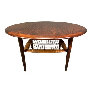 Vintage Danish Mid Century Modern Johannes Andersen for Cfc Silkeborg Rosewood Coffee Table For Sale