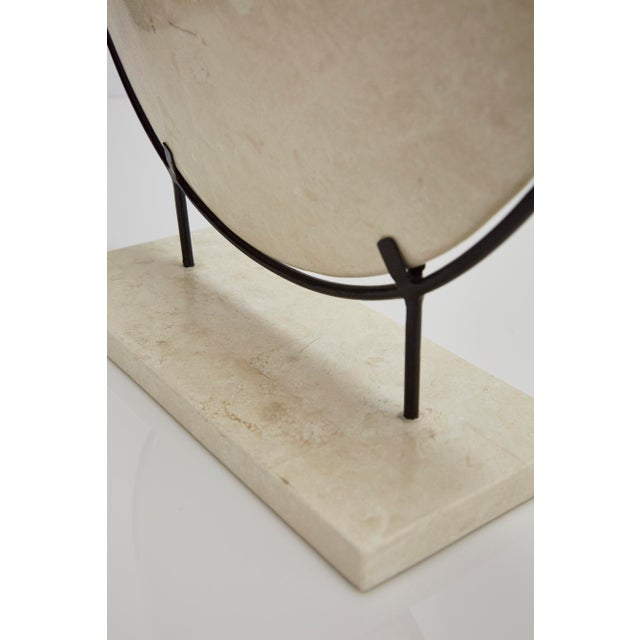 "Maitland - Smith 1990s Contemporary Marquis Collection Tessellated Stone ""Illusion"" Plate on Iron Stand For Sale - Image 4 of 12"
