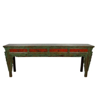 Antique Chinese 4 Drawers Painted Long Sofa Table/Console Table For Sale
