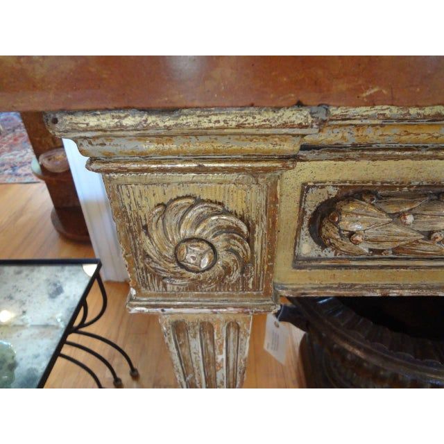 Italian 17th Century Italian Gilt Wood With Marble Top Console Table For Sale - Image 3 of 10