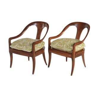 Early 20th Century Federal Style Cane Seat Armchairs- A Pair For Sale