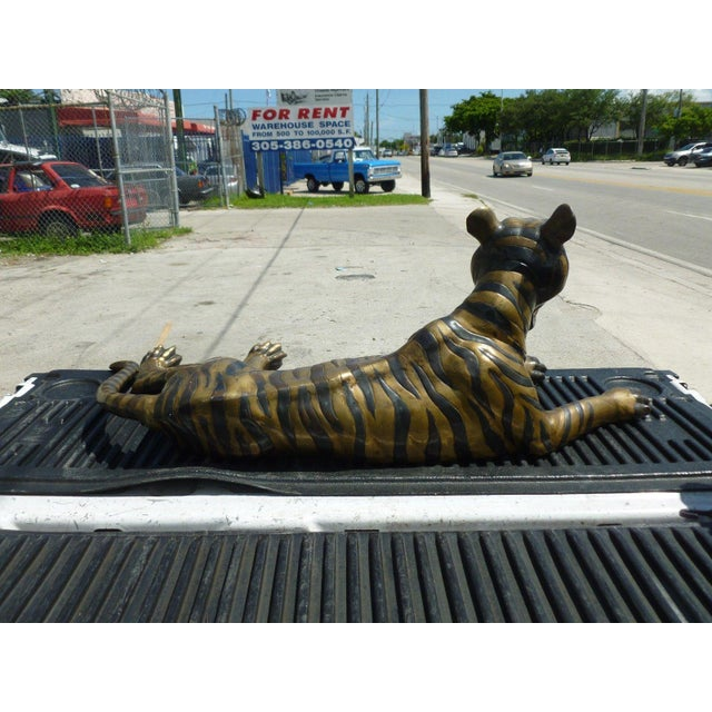 Large 70's Sitting Bronze Tiger For Sale In Miami - Image 6 of 8