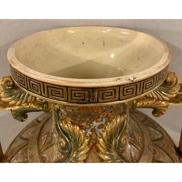 Ceramic Satsuma Thousand Face Vase or Urn Palace Sized Twin Handled For Sale - Image 7 of 13