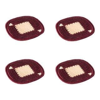 Square Coasters Plum - Set of 4 For Sale