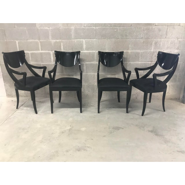 Hollywood Regency 1980s Vintage Pietro Costantini Gondola Lacquered Dining Armchairs- Set of 4 For Sale - Image 3 of 11