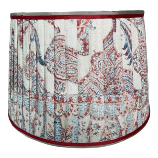 Vintage Block Print Paisley Pleated Lamp Shade For Sale