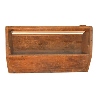 Antique Primitive Rustic Wood Tool Caddy For Sale