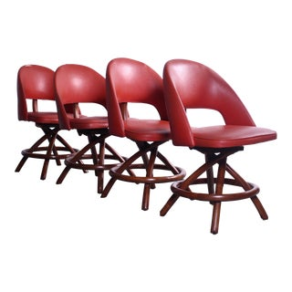 Set of Four Paul Frankl Red Rattan Swivel Chairs For Sale