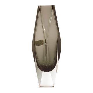 1990s V. Nason & C. Murano Italy Gray Diamond Cut Block Crystal Glass Vase For Sale
