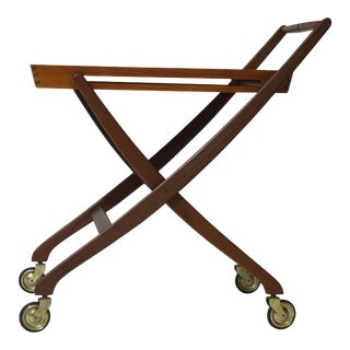 Danish Teak Folding Bar Cart For Sale