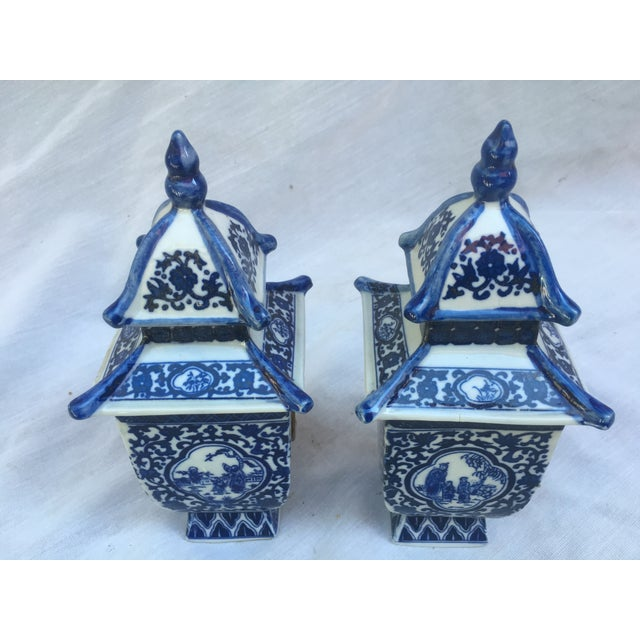 Blue & White Lidded Pagoda Vases - A Pair - Image 3 of 9