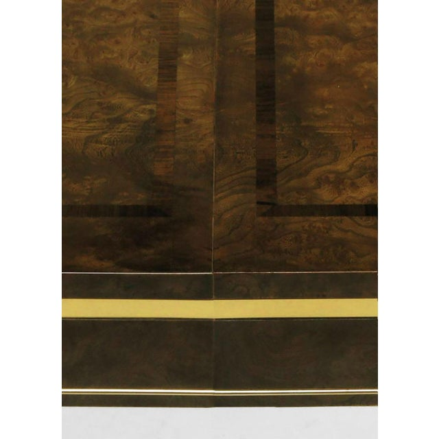 1970s Mastercraft Amboyna Burl and Brass Parsons Leg Dining Table For Sale - Image 5 of 7