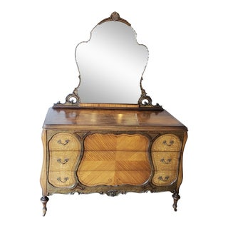 1930s Art Deco Dresser With Mirror For Sale