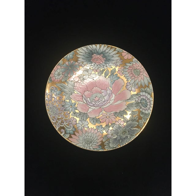 Chinoiserie Plate in Golds & Pinks For Sale - Image 9 of 9