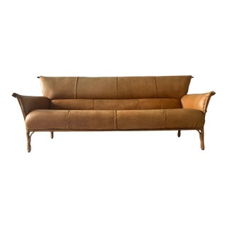 Cognac Leather and Palmwood Sofa by Pacific Green, 1990's For Sale
