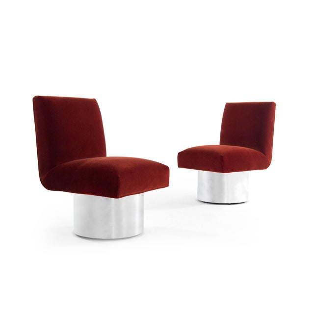 Mid-Century Modern Milo Baughman Swivel Chairs on Drum Nickel Bases For Sale - Image 3 of 10