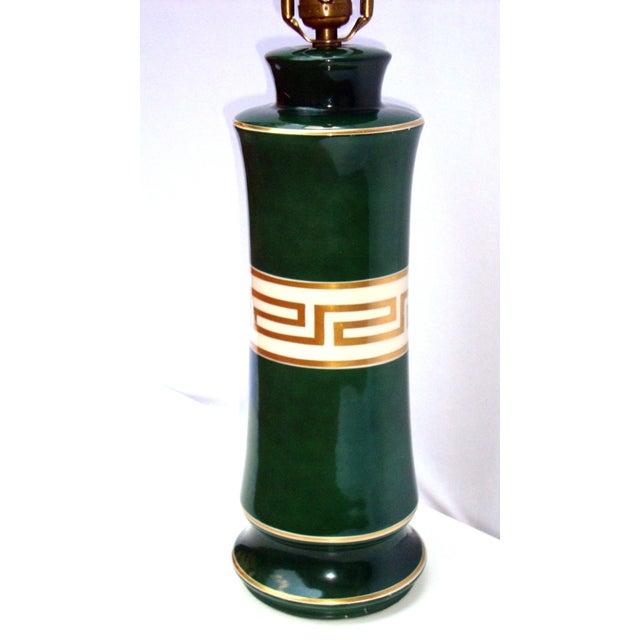 Antique Greek Key Green Gold White Ceramic Lamp - Image 3 of 11