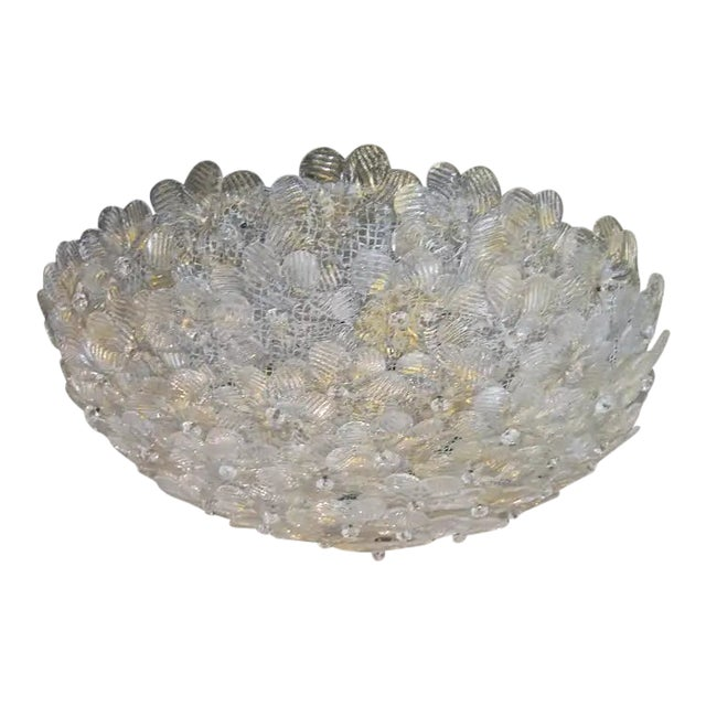 Floral Murano Glass & Brass Flush Mount For Sale