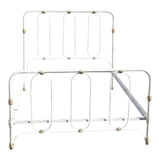 Vintage French Country Farmhouse Chic White Metal Full Bed Headboard & Footboard For Sale