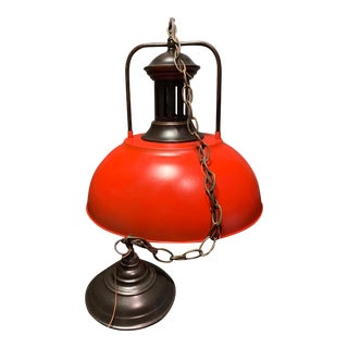 Vintage Red Bronze Blue Industrial Metal Pendant Lamp With Edison Bulb For Sale
