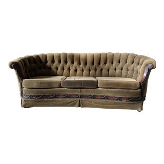 Antique Tufted Curved Velvet Sofa For Sale