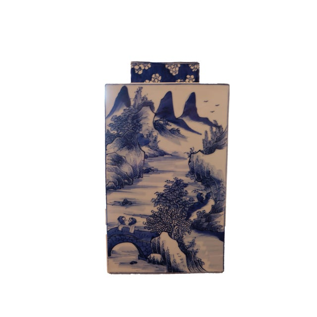 Asian Blue & White Chinese Vase Tea Caddy, Reproduction For Sale - Image 3 of 3