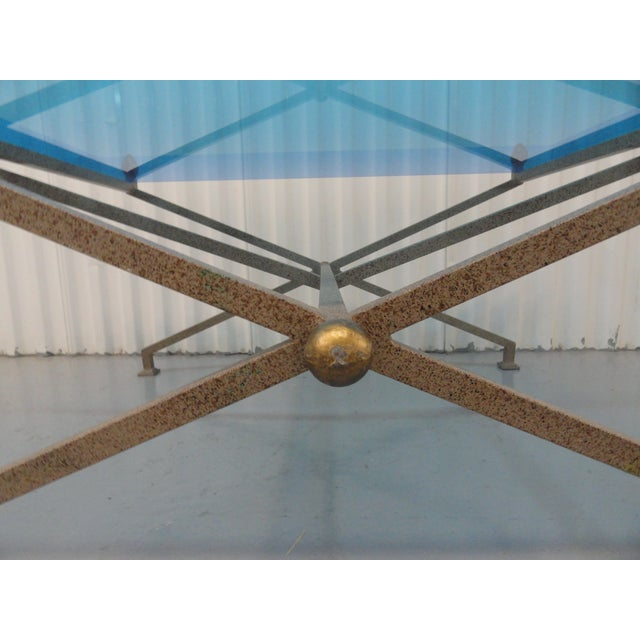 1970s Contemporary Steel and Blue Perspex Coffee Table For Sale In Miami - Image 6 of 10