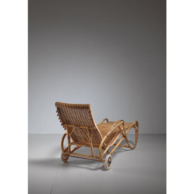 1920s Adjustable Bamboo and Rattan Chaise With Wheels, Germany, 1920s-1930s For Sale - Image 5 of 7
