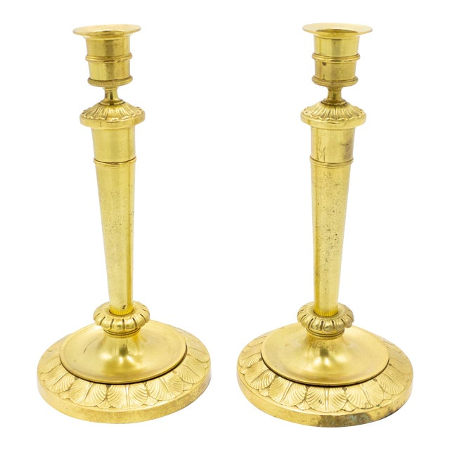 English Recency Bronze Dore Candlesticks - a Pair For Sale
