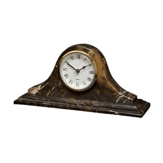 Black & Gold Marble Mantle Clock