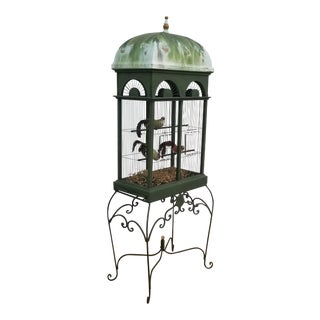 1970's Vintage Hand-Crafted Green Bird Cage For Sale
